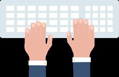 manos en el teclado